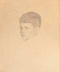 Fine Art - Work on Paper:Drawing, FREDERICK ANDREW BOSLEY (American, 1881-1941). Portrait of aBoy. Pencil on paper. 16-5/8 x 13-3/4 inches (42.2 x 34.9 c...