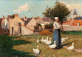 Fine Art - Painting, European:Antique  (Pre 1900), EUGENE LAURENT VAIL (American, 1857-1934). Feeding theGeese. Oil on canvas. 15 x 22 inches (38.1 x 55.9 cm). Signedlow...