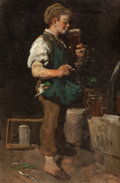 Fine Art - Painting, European:Antique  (Pre 1900), EMMANUEL SPITZER (German, 1844-1919). Taking a Drink (Boy withBeer), 1873. Oil on canvas. 32 x 21 inches (81.3 x 53.3 c...
