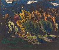 VAN DEARING PERRINE (American, 1869-1955) Expressionistic Landscapes (group of 3) Pastel on paper