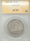 Bust Half Dollars: , 1830 50C Small 0 AU50 NGC. NGC Census: (105/1199). PCGS Population(152/942). Mintage: 4,764,800. Numismedia Wsl. Price for...