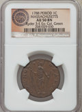 1788 1C Massachusetts Cent, Period AU50 NGC. R. 3-E, W-6220, R.4. A scarce variety that is usually only found in grade...