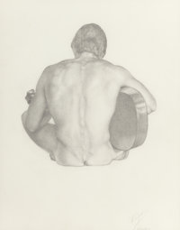 JAMES CHILDS (American, b. 1947) Nude with Guitar, 1976-80 Pencil on paper 12 x 9-1/2 inches (30