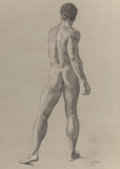 Fine Art - Work on Paper:Drawing, JAMES CHILDS (American, b. 1947). Male Nude Study. Pencil onpaper. 22-1/4 x 16 inches (56.5 x 40.6 cm) (sheet). Inscrib...