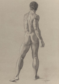 JAMES CHILDS (American, b. 1947) Male Nude Study Pencil on paper 22-1/4 x 16 inches (56.5 x 40.6
