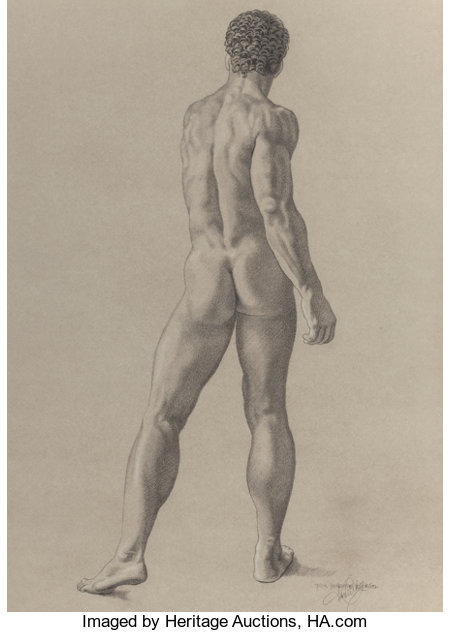 JAMES CHILDS (American, b. 1947)Male Nude StudyPencil on paper22-1/4 x 16 inches (56.5 x 40.6 cm) (sheet)Inscrib...