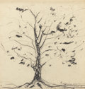 Fine Art - Work on Paper:Drawing, AMERICAN SCHOOL (20th Century). Sycamore Tree, 1998. Penciland charcoal on paper. 11-5/8 x 11-5/8 inches (29.5 x 29.5 c...