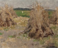 Fine Art - Painting, American:Modern  (1900 1949)  , AMERICAN SCHOOL (20th Century). Haystacks. Oil on canvaslaid on board. 14 x 17 inches (35.6 x 43.2 cm). THE JEAN AND ...