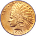 Indian Eagles, 1907 $10 Wire Rim MS64 PCGS Secure....