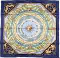 "Luxury Accessories:Accessories, Hermes Navy & Gold ""Dies et Hore,"" by François Façonnet SilkScarf. ..."
