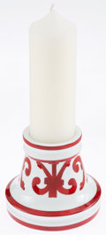 Luxury Accessories:Home, Hermes Red & White Porcelain Balcon du Guadalquivir CandleHolder & Candle. ...
