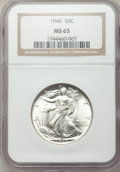 Walking Liberty Half Dollars, 1946 50C MS65 NGC. NGC Census: (2192/629). PCGS Population(3633/1009). Mintage: 12,118,000. Numismedia Wsl. Price for prob...