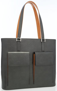 Louis Vuitton Gray Monogram Mat Leather Wilwood Tote with Brushed Silver Hardware