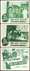 "Movie Posters:Comedy, The Three Stooges in The Hot Scots (Columbia, 1948). Title LobbyCard and Lobby Cards (2) (11"" X 14"").. ... (Total: 3 Items)"