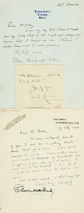Autographs:Authors, [British Poets]. Group Lot of Autograph and Typed Letters Signed.Includes Emily Lawless, Walter Williams, Christopher Fry, ...