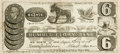 "Books:Americana & American History, [Americana] Humorous Fake Currency from the ""Humbug Glory Bank.""New York, 1837. The six-cent currency lists Cunning Reuben ..."