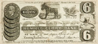 """[Americana] Humorous Fake Currency from the """"Humbug Glory Bank."""" New York, 1837. The six-cent currency lists C..."""