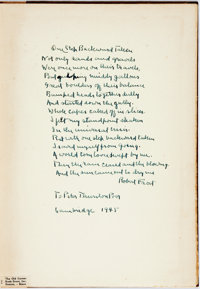 Robert Frost. INSCRIBED WITH A POEM. A Masque of Reason. New York: Henry Holt, 1945. First edit
