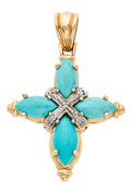 Estate Jewelry:Brooches - Pins, Turquoise, Diamond, Gold Pendant. ...