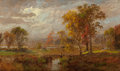 Fine Art - Painting, American:Antique  (Pre 1900), JASPER FRANCIS CROPSEY (American, 1823-1900). AutumnLandscape, 1889. Oil on canvas. 12-1/4 x 20-1/4 inches (31.1 x51.4...