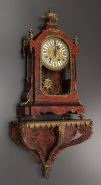 A LOUIS XIV-STYLE BOULLE CLOCK WITH GILT BRONZE MOUNTS AND BRACKET SHELF, 19th century Marks: 7088 2