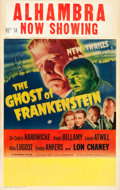 "Movie Posters:Horror, The Ghost of Frankenstein (Universal, 1942). Window Card (14"" X22"").. ..."