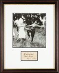 """Movie Posters:Comedy, Charlie Chaplin (1931). Framed Autographed Inscription with Photo (17"""" X 21"""").. ..."""