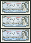 Canadian Currency: , $5 1954 Modified Portrait Notes.. ... (Total: 3 notes)