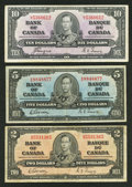 Canadian Currency: , Three Different 1937 Notes.. ... (Total: 3 notes)