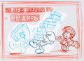 Animation Art:Production Drawing, The Smurfs Bumper Card Preliminary Layout Sketch Group(Hanna-Barbera, 1981).... (Total: 3 Original Art)
