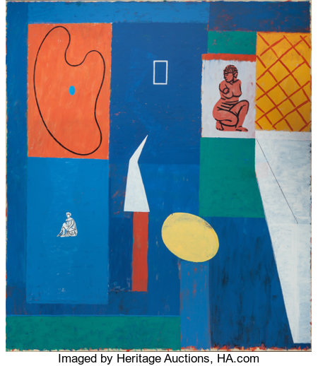 DANNY WILLIAMS (American, b. 1950) Interior, 1990 Oil, wax and acrylic resin on canvas 80 x 70 inches (203.2 x 177.8 ...