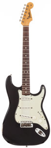 Musical Instruments:Electric Guitars, 1965 Fender Stratocaster Black Solid Body Electric Guitar, #L55428....