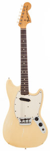 Musical Instruments:Electric Guitars, 1975 Fender Musicmaster White Solid Body Electric Guitar,#621869....