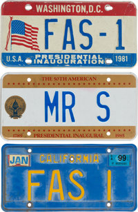 A Frank Sinatra Group of License Plates, 1980s-1990s