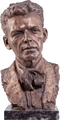 Movie/TV Memorabilia:Original Art, A Frank Sinatra Bronze Bust by Jo Davidson, 1946....