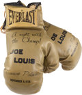 """Movie/TV Memorabilia:Memorabilia, A Frank Sinatra-Related Pair of Commemorative Boxing Gloves from """"ANight with the Champ: A Tribute to Joe Louis,"""" 1978...."""