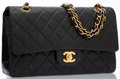 Luxury Accessories:Bags, Chanel Black Quilted Lambskin Leather Double Flap Bag with GoldHardware. ...