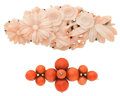 Estate Jewelry:Lots, Coral, Silver Brooches. ... (Total: 2 Items)