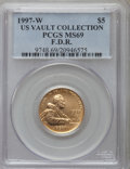 Modern Issues, 1997-W G$5 Franklin D. Roosevelt Gold Five Dollar MS69 PCGS. Ex: US Vault Collection. PCGS Population (1582/224). NGC Censu...