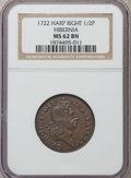 Colonials: , 1722 1/2P Hibernia Halfpenny, Type Two, Harp Right MS62 Brown NGC. NGC Census: (1/2). PCGS Population (5/3). ...