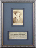 Photography:Cabinet Photos, WILLIAM F. CODY CABINET CARD WITH SIGNED 101 RANCH CHECK. 1890-1916W. F. Cody (Buffalo Bill) in 1916, the year before ... (Total: 1Item)