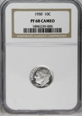 Proof Roosevelt Dimes: , 1950 10C PR68 Cameo NGC. This example is exceptionally well struckwith fully brilliant obverse and reverse surfaces. The d...