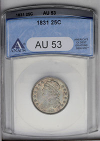 1831 25C Small Letters AU53 ANACS. B-2, R.2. Much original luster survives beneath mottled golden-gray toning. A faint d...