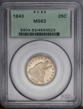 Seated Quarters: , 1843 25C MS63 PCGS. The 1843 is among the more common Seatedquarters from the 1840s. This statement of fact is, however, m...