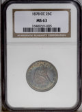 Seated Quarters: , 1878-CC 25C MS63 NGC. One of the more available Carson Cityquarters, and a date that can be located in most any grade desi...