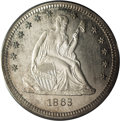 Proof Seated Quarters: , 1863 25C PR64 Cameo PCGS. A lovely Choice proof example withexcellent contrast beneath pale gray and lilac color on the ob...