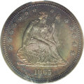 Proof Seated Quarters: , 1865 25C PR65 PCGS. Rich green-gray and sunset-orange toningblankets well preserved mirror surfaces that likely possess mo...