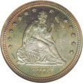 Proof Seated Quarters: , 1876 25C PR66 NGC. Type One Reverse. Deep aquamarine toning,shading to golden-violet at the center of the reverse. The hig...