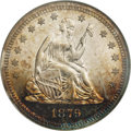 Proof Seated Quarters: , 1879 25C PR66 Cameo NGC. Type Two Reverse. A remarkable Premium Gemwith exceptional cameo contrast, and nearly qualifying...