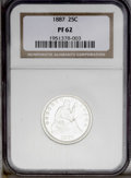 Proof Seated Quarters: , 1887 25C PR62 NGC. A brilliant, well mirrored specimen with obviousweakness on many of the obverse stars. Of greater distr...